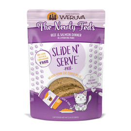 Slide N' Serve The Newly Feds Beef & Salmon Dinner Cat Food Pouch