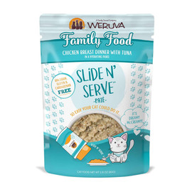 Slide N' Serve Family Food Chicken Breast Dinner With Tuna Cat Food Pouch
