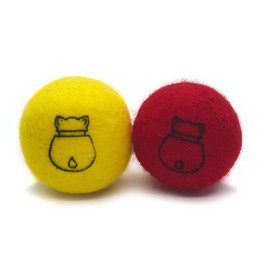 Doyen Catnip Felt Red & Yellow Ball Set Cat Toy