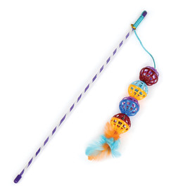 Pet Park Blvd Ball Teaser with Feathers Cat Toy