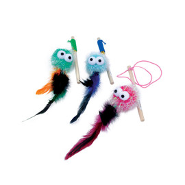 Turbo Monster Wand w/Feathers Cat Toy