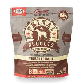 Primal Raw Frozen Canine Nuggets Venison Formula Dog Food