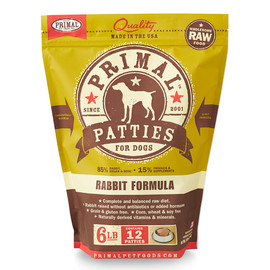 Primal Raw Frozen Canine Patties Rabbit Formula Dog Food