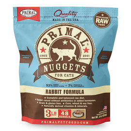 Primal Raw Frozen Feline Nuggets Rabbit Formula Cat Food