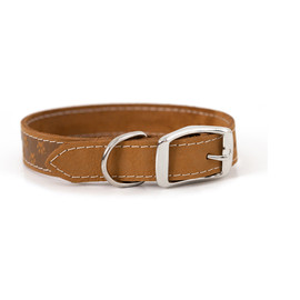 Classy Elegant Style Tan Leather Dog Collar