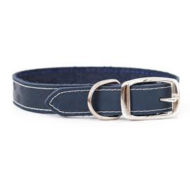 Classy Elegant Style Navy Leather Dog Collar