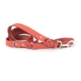 Classy Braided Coral Leather Dog Leash
