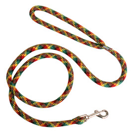 Yellow Dog Round Braided Rasta Colors Rope Dog Leash