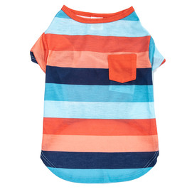 SimplyDog Wide Stripe Print Pocket Dog T Shirt