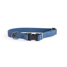 Classy Waterproof Soft PVC Coated Nylon Navy Dog Collar