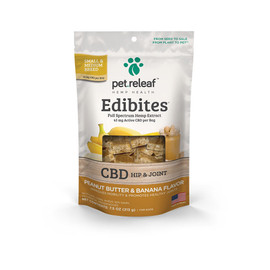 Pet Releaf Edibites Peanut Butter & Banana Hemp Dog Treats -Front