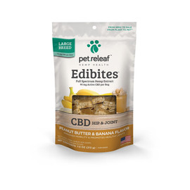 Pet Releaf Edibites Large Breed Peanut Butter & Banana Hemp Dog Treats -Front