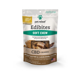 Pet Releaf Edibites Peanut Butter & Carob Swirl Soft Chew Hemp Dog Supplements -Front