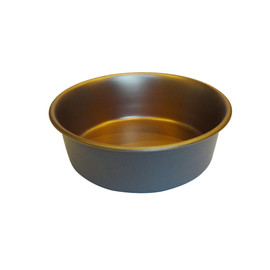 Dineasty Stainless Steel Metallic w/ Matte Grey Outer Dog Bowl - Front