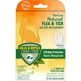 TropiClean Natural Flea & Tick Spot On Treatment for Cats - Front