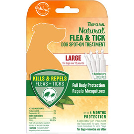 TropiClean Natural Flea & Tick Spot On Treatment for Large Dogs (Over 75 lbs) - Front