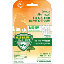 TropiClean Natural Flea & Tick Spot On Treatment for Medium Dogs (35 - 75 lbs) - Front