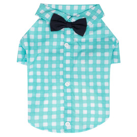 SimplyShe Light Blue Gingham Bowtie Collar Dog T-Shirt - Front