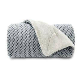 Pure Comfort Gray Velvet Dog Throw Blanket - Front