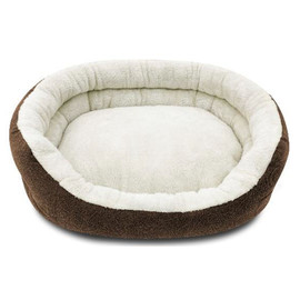 Pure Comfort 2-Layer Clamshell Cuddler Brown Pet Bed - Front