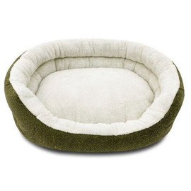 Pure Comfort 2-Layer Clamshell Cuddler Green Pet Bed - Front