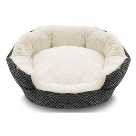 Pure Comfort Clamshell Gray & Cream Pet Bed - Front