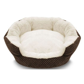 Pure Comfort Clamshell Brown & Cream Pet Bed - Front