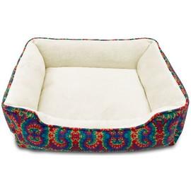 Pure Comfort Rectangular Cuddler Tie Dye Dog Bed - Front