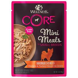 Wellness CORE Small Breed Mini Meals Shredded Chicken & Turkey Dinner in Gravy Wet Dog Food - Front