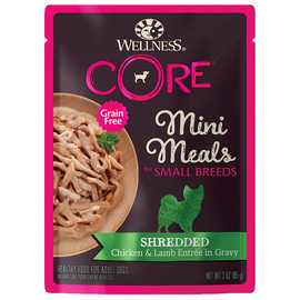 Wellness CORE Small Breed Mini Meals Shredded Chicken & Lamb Entrée in Gravy Wet Dog Food - Front