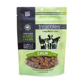 Treatibles Calm Full Spectrum Hemp Oil Hard Chews for Small to Medium Dogs - Front