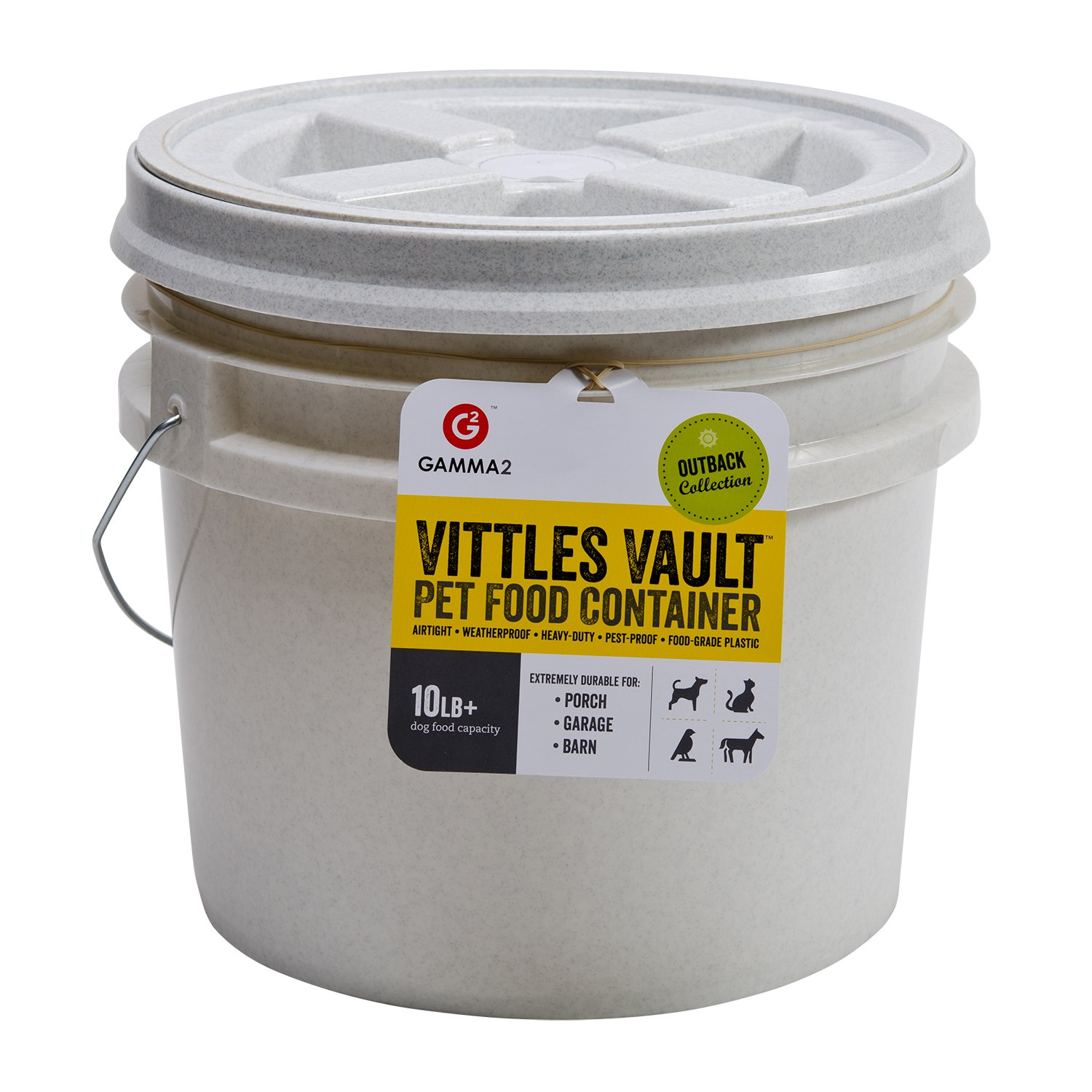 click here to shop Vittles Vault Outback Bucket Pet Food Container.