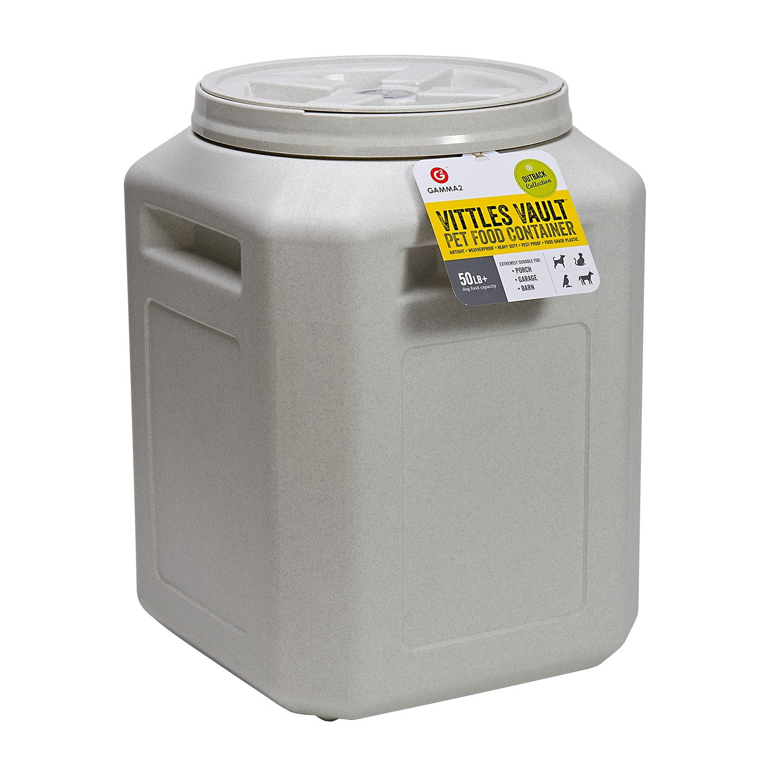 click here to shop Vittles Vault Outback Bucket Pet Food Container
