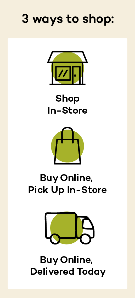 3 ways to shop: In-store; Buy Online, Pick Up In-store; Buy Online, Get It Delivered