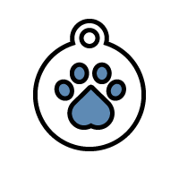 Icon of badge with paw