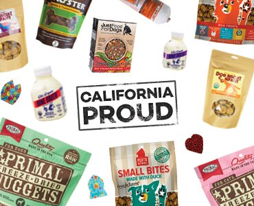 Various California-made products on a white background with text that says 'California Proud' in stamp lettering
