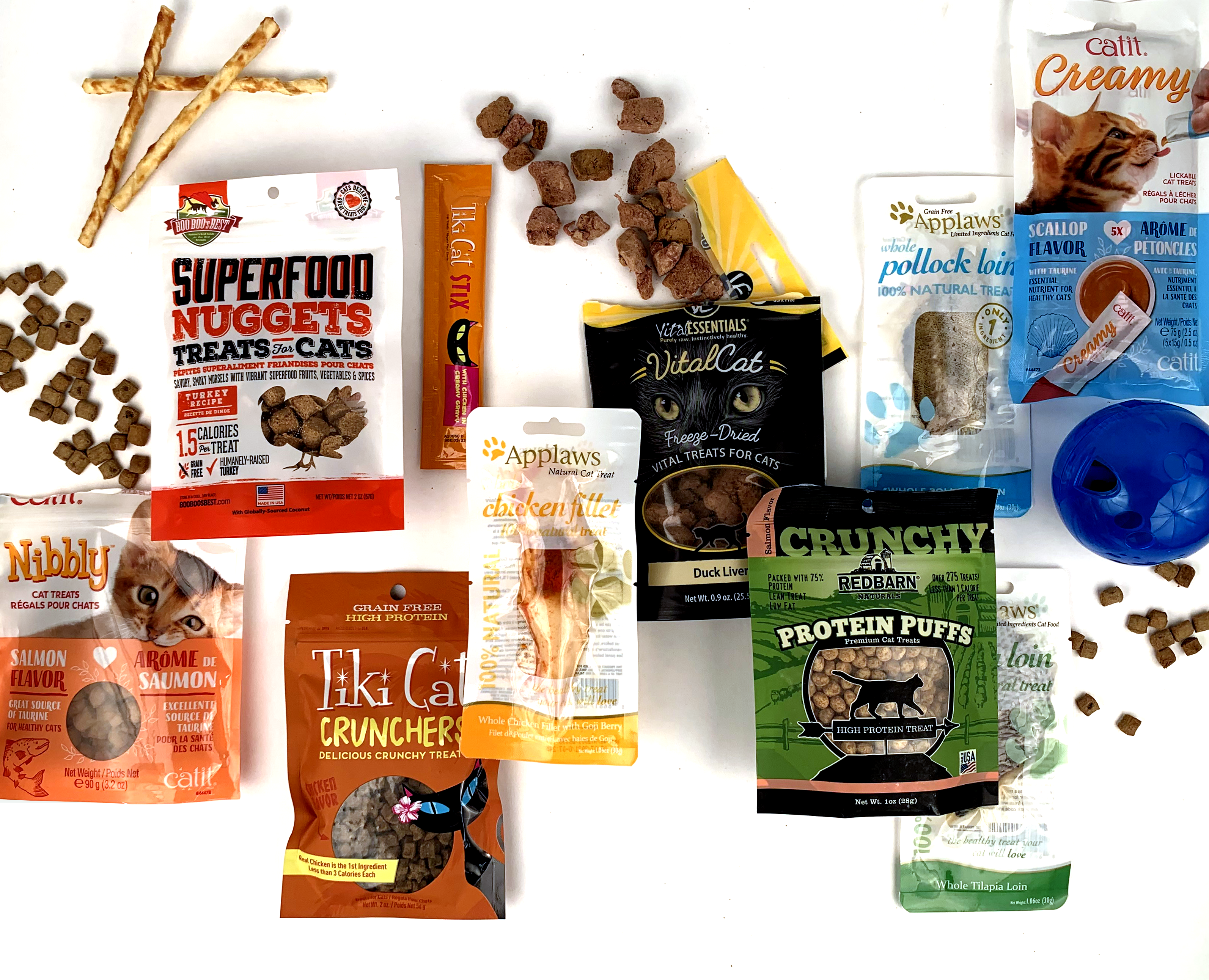 various brands of cat treats