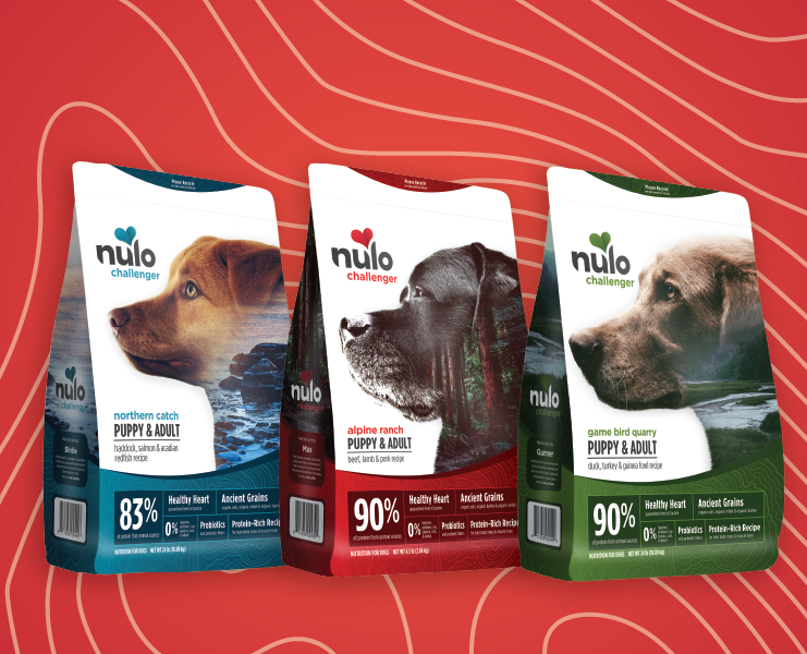 three formulas of bags of nulo challenger dog kibble with red background