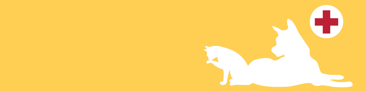 A white outline of a dog and cat with a bright yellow backdrop. click to learn more