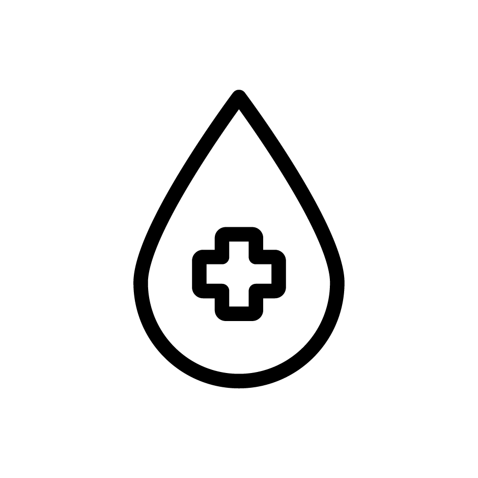 Icon of water droplet with health symbol
