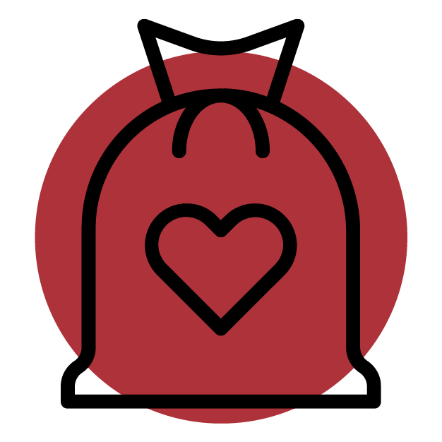 Bag with heart symbol
