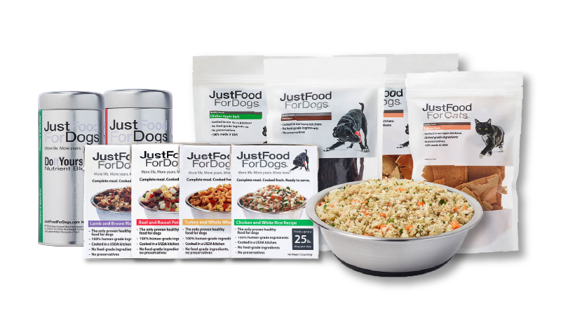 Photo showcasing variety of JustFoodForDogs products