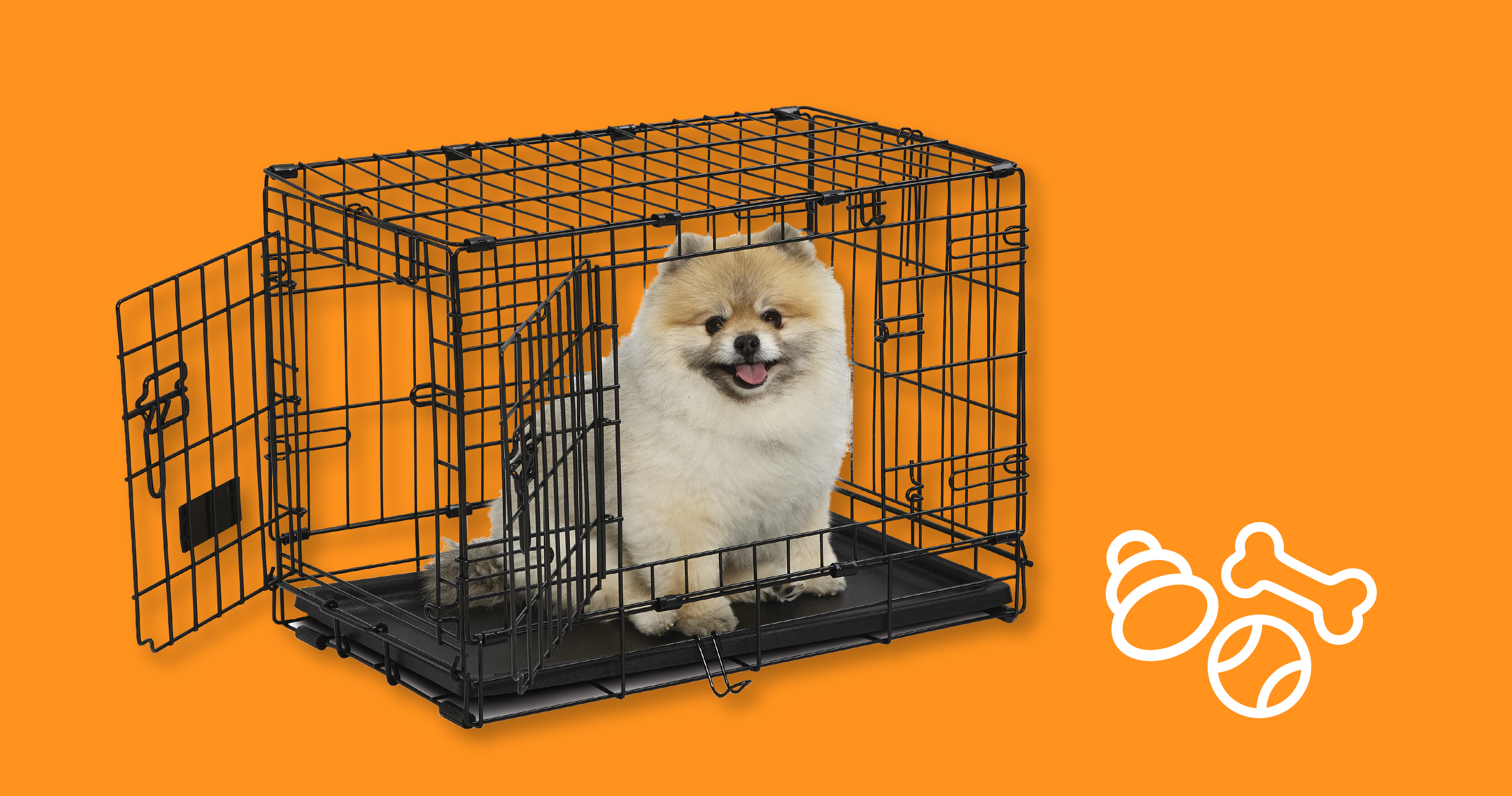Dog sitting in a MidWest Contour Crate. Click here to learn more.