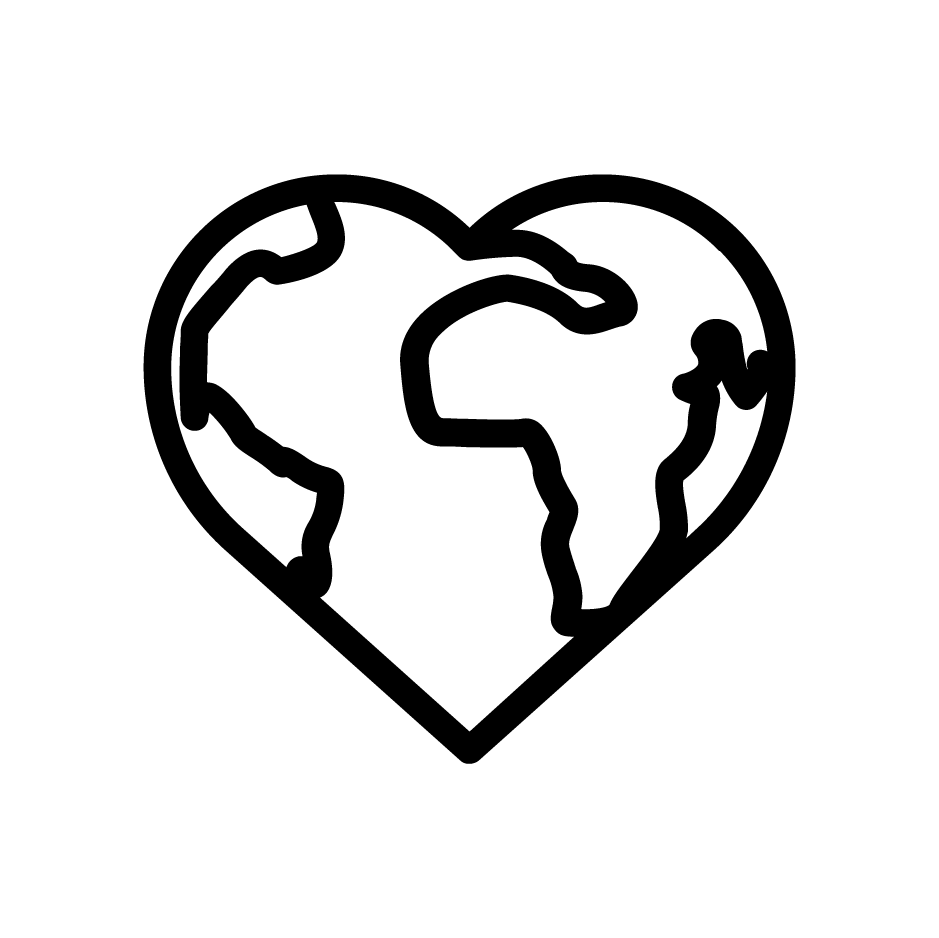 Icon of heart shaped earth