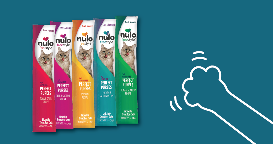 drawing of cat paw with nulo products. click to shop cat food.