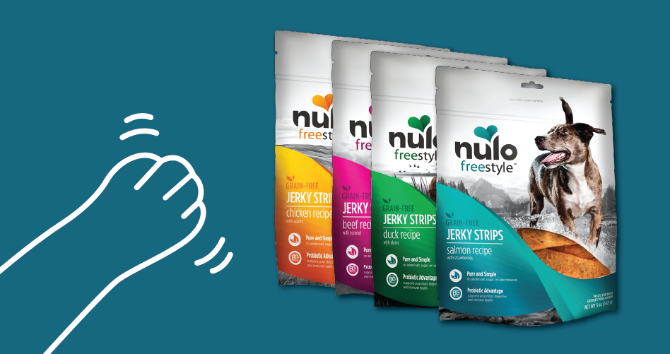 drawing of dog paw with nulo products. click to shop dog food.