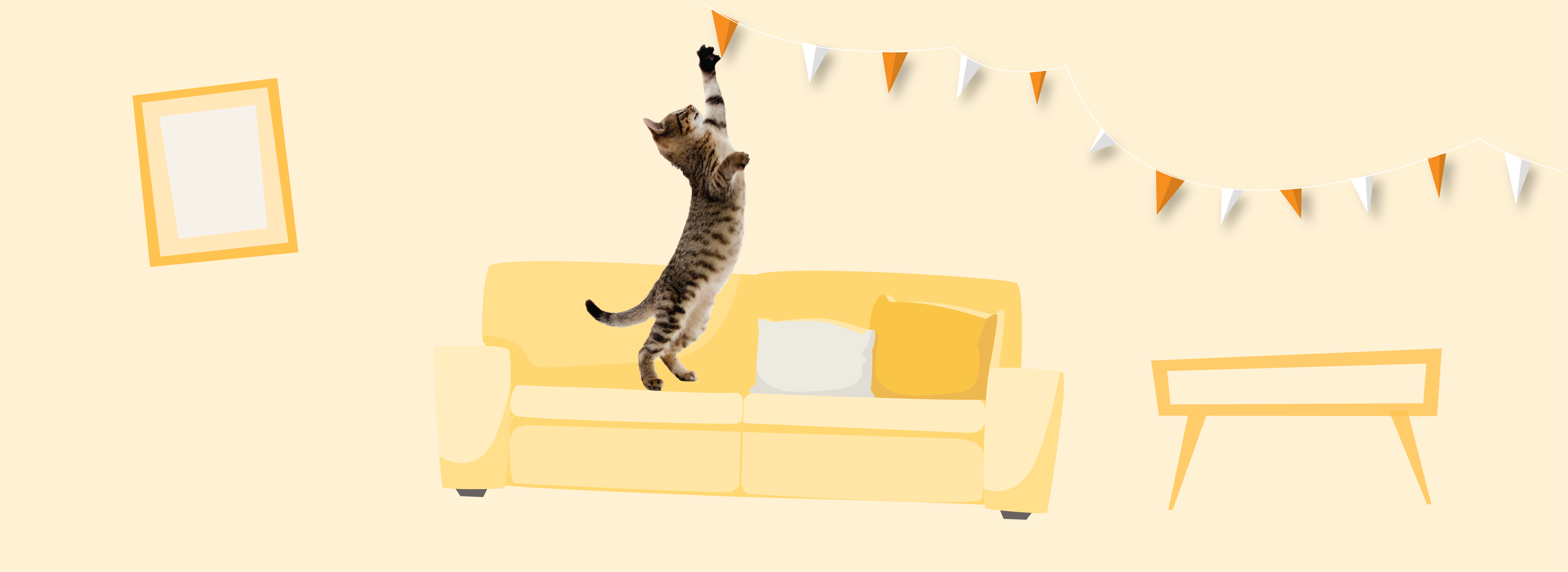 Cat on yellow couch