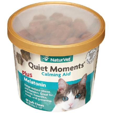 click here to shop Quient Moments Cat Treats with Melatonin.