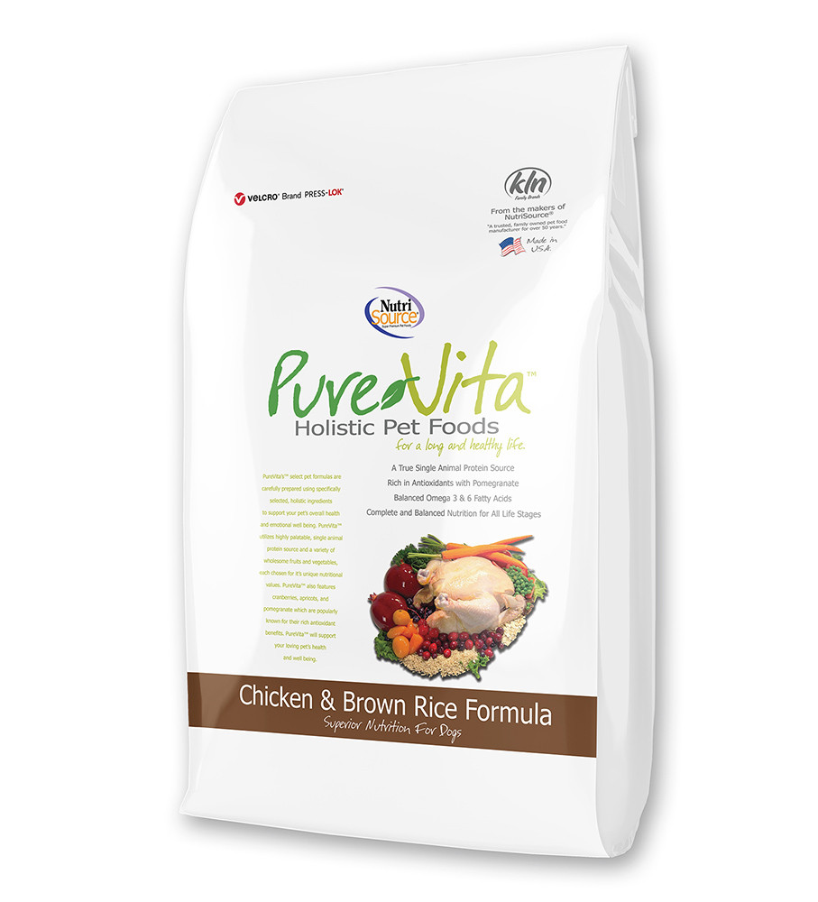 click here to shop PureVita Chicken & Brown Rice Dry Dog Food.
