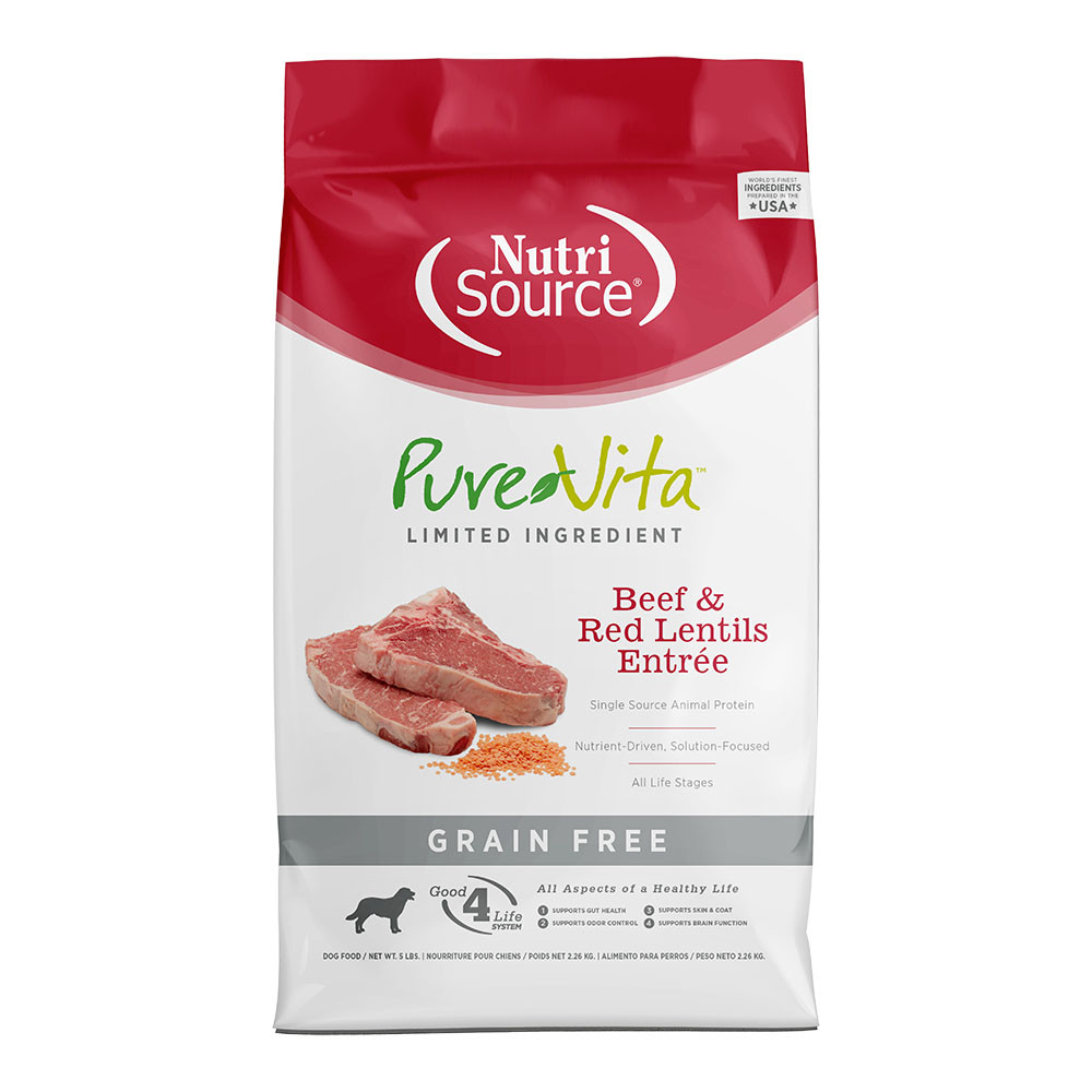 click here to shopPureVita Beef & Red Lentils Grain Free Entree Dry Dog Food